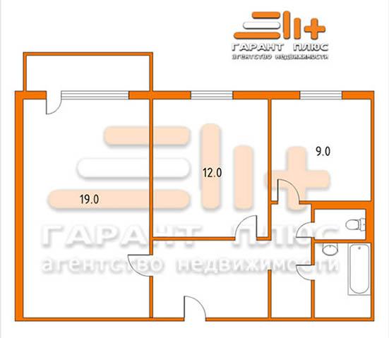 Планировка 2-х комнатной