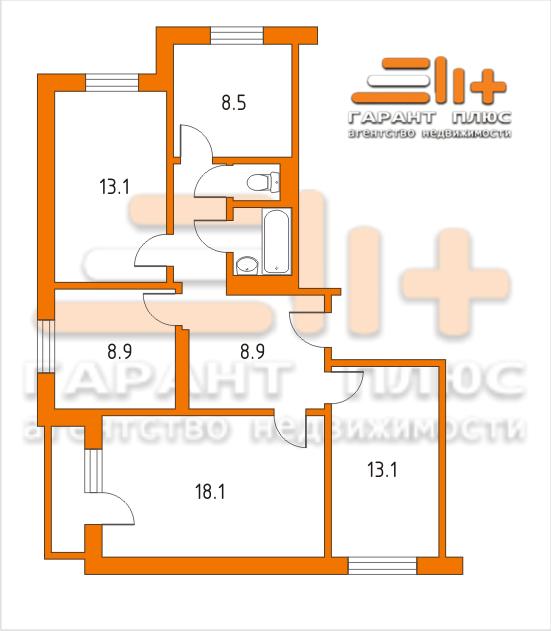 Планировка 4-х комнатной